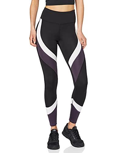 Amazon-Marke: AURIQUE Damen Colour Block-Sportleggings, Schwarz (Black/White/Nightshade), S