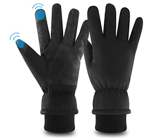 KELOYI Handschuhe Herren Damen fahrradhandschuhe Winterhandschuhe Verdicken Touchscreen Schwarz Warme Fleece Innenfutter Winddicht für Outdoor Motorrad Laufen Radfahren Mountainbike-XL