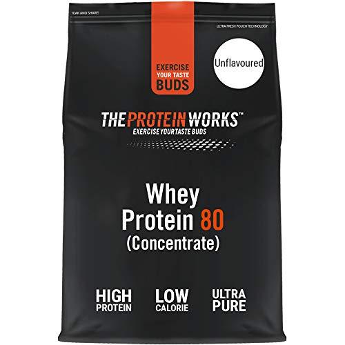 Whey 80 Protein Pulver (Konzentrat)   Premium Eiweißpulver   Proteinreich & Wenig Zucker   THE PROTEIN WORKS   Geschmacksneutral   2kg