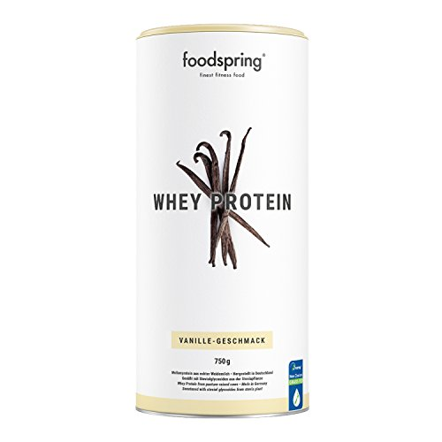 foodspring Whey Protein Pulver, 750g, Vanille, Eiweißpulver zum Muskelaufbau, Hergestellt in Deutschland