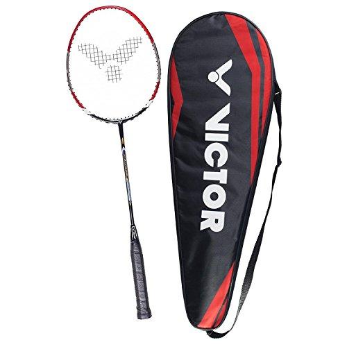 VICTOR Badmintonschläger V-3700 Magan für Einsteiger, Freizeit- und Hobbyspieler, rot