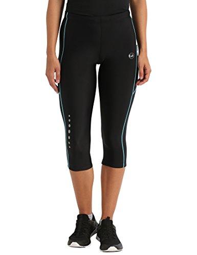Ultrasport Damen Laufhose, 3/4 Lang, black turquioise, L, 10288