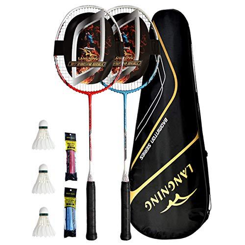 LANGNING badmintonschläger Set 2, Federballschläger 24Lbs Nur 85g, hohe Qualität Profi Carbon der gesamte Schläger ist aus Kohlefaser (Rot+Blau)