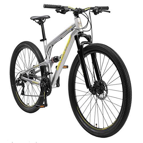 BIKESTAR Fully Aluminium Mountainbike Shimano 21 Gang Schaltung, Scheibenbremse 29 Zoll Reifen   17.5 Zoll Rahmen Alu MTB Vollgefedert   Grau