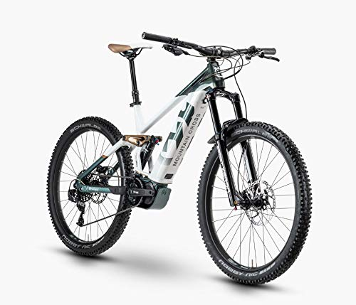 Husqvarna Mountain Cross 5 Shimano Steps Fullsuspension Elektro Mountain Bike 2020 (52cm, Green/White/Bronze)