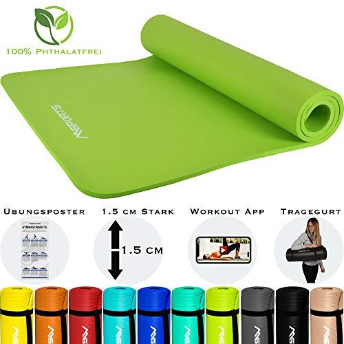 MSPORTS Gymnastikmatte Premium inkl. Tragegurt + Übungsposter + Workout App I Hautfreundliche Fitnessmatte 190 x 60 x 1,5 cm - Lindengrün - Phthalatfreie Yogamatte