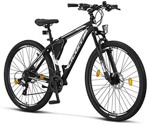 Licorne Bike Effect Premium Mountainbike in 29 Zoll Aluminium, Fahrrad für Jungen, Mädchen, Herren und Damen - 21 Gang-Schaltung - Scheibenbremse Herrenrad - Schwarz/Weiß (2xDisc-Bremse)